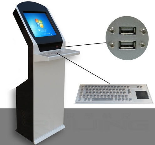 19 Inch Self Service Card Attendance Terminal With Keyboard Card Reader Hospital Bank Queuing Printing Kiosks