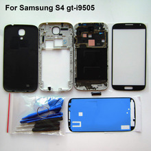 Black S4 Full Housing Repair Parts For Samsung GT-i9505 Front frame+Middle Frame+battery cover+front screen glass + tools