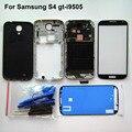 S4 habitação completo de peças de reparo para samsung gt-i9505 frente + quadro médio + tampa da bateria + tela frontal de vidro + ferramentas