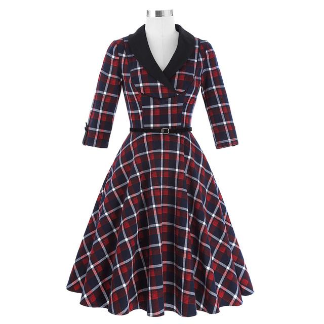 Autumn Plaid Dress 3/4 Sleeve Lapel Grid Pattern Tunic Women Plus size Clothing Casual Picnic Vintage Party Dresses Vestidos