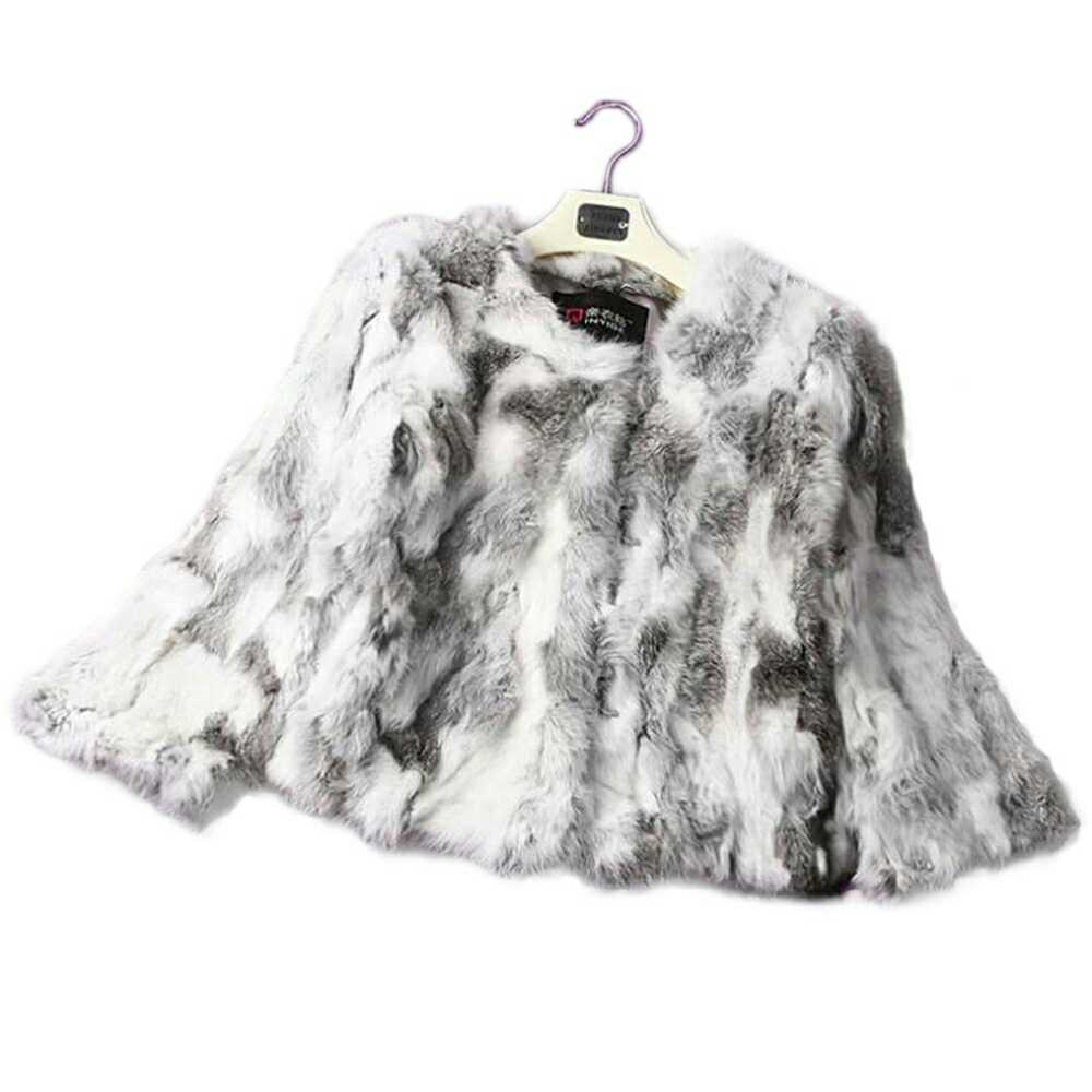 Real Rabbit Fur Winter Women Short Fur Coat Plus Size Jacket Warm Coat Female Round Neck