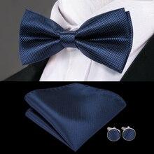 3f502829bace6 مرحبا التعادل العلامة التجارية الرجال ربطة القوس فيونكة الأزياء الأزرق  الصلبة الحرير بووتي المنديل أزرار أكمام · 46 اللون