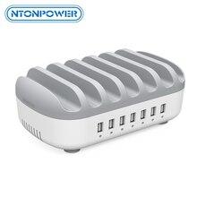 Ntonpower multi portas usb carregador estação doca 5v2.4a com suporte do telefone organizador carregador de mesa para telefone tablet xiaomi iphone