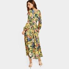 فستان خريفي ماكسي بأكمام طويلة  طباعة الزهور