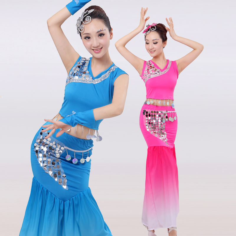 Show details for 2017 Hmong Clothes Disfraces Dai Dance Clothing Peacock Costumeschinese Folk National Ethinc Elastic Sequined Fishtail Costume