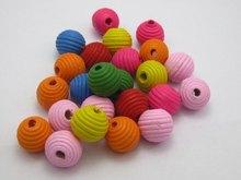 50 Смешанные яркие Карамельный цвет рифленая круглые деревянные бусины 14 mmads