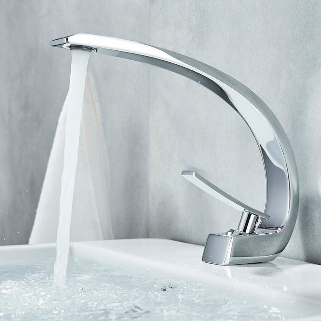 Uythner Chrome Polish Basin Faucets Bathroom Mixer Tap Brass Washbasin Faucet Single Handle Single Hole Basin Sink Crane Tap 2