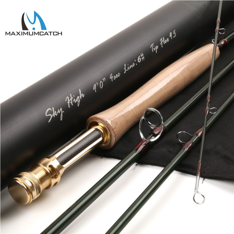 Maximumcatch 2-8WT Fly Rod Skyhigh 6-10FT 3-4Sec Fly Fishing Rod Graphite IM12 Toray Carbon Fly Rod with Carbon Tube 3 x adjustable 1 4 pt thread sc sintered bronze exhaust muffler throttle valve