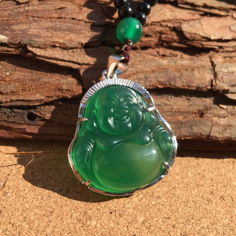 925 Silver Inlaid Natural Green Chalcedony Buddha Pendant Female Emerald Jade Necklace Wholesale 925 silver green yellow chalcedony agate pendant buckle female sweater chain large round jade pendant
