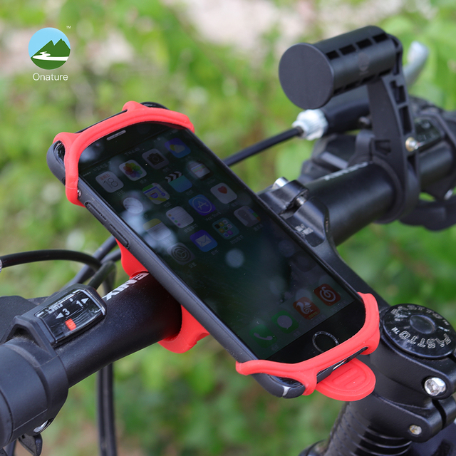 Onature bicycle phone holder universal for 4 to 5.5 inch phone shockproof and Durable silicone handlebar bike phone mount