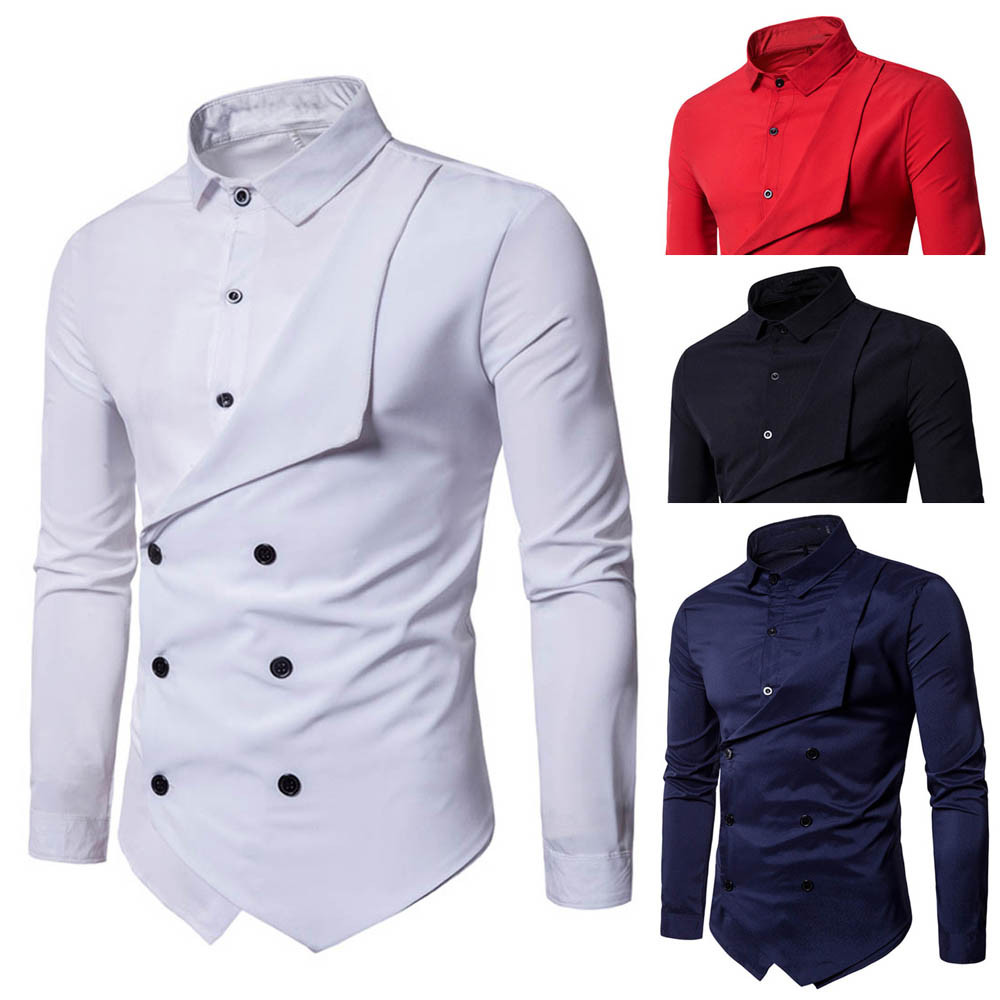 CYSINCOS Spring Shirts Men Personality Oblique Button Irregular Double Breasted Men Long Sleeve Camisa Masculina Slim Fit Shirt
