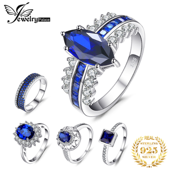 Jewelrypalace 블루 여성을위한 사파이어 반지를 만들었 보석 925 스털링 실버 1.1-7ct 더 많은 패션 약혼 결혼 반지