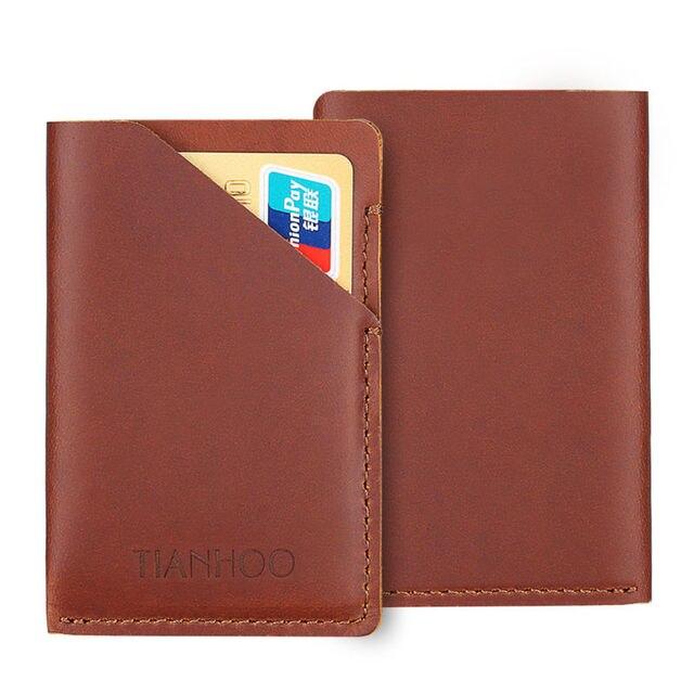8a20f38a2c8d Fashion Slim Mini Leather Credit ID Card Holder Pocket Bank Card Case Wallet  Men Cash Cards Pack Bus Card Holder Brown