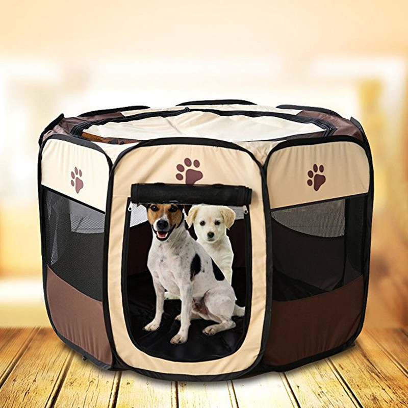 Pet Dog Cat Playpen Cage Crate Portable Folding Exercise Pet Kennel Indoor Outdoor Use Removable Mesh Shade Dog Cat Cover ...