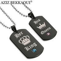 AZIZ BEKKAOUI Tags Pendant Couple Necklace Her King His Queen Crown Necklace Military Army Cards For