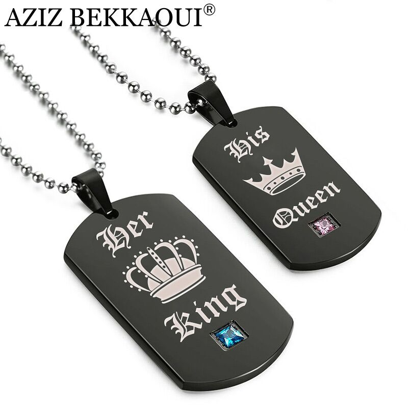 AZIZ BEKKAOUI Tags Pendant Couple Necklace Her King & His Queen Crown Necklace Military Army Cards for Lover Dropshipping