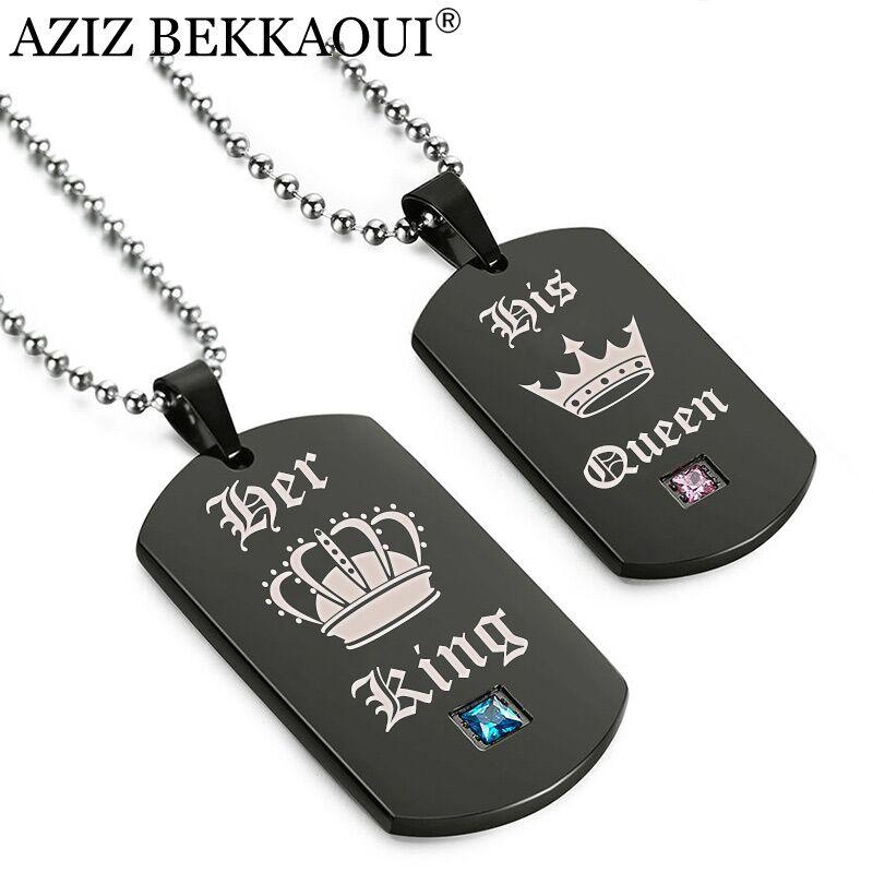 AZIZ BEKKAOUI Tags Anhänger Paar Halskette Ihr König & Seine Königin Crown Halskette Military Armee Karten für Liebhaber Dropshipping