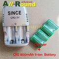 Venta caliente 4 unids/lote Nueva CR2 800 mAh li-ion Batería Recargable + 1 UNIDS 2 ranura Del Cargador paquete Envío gratis