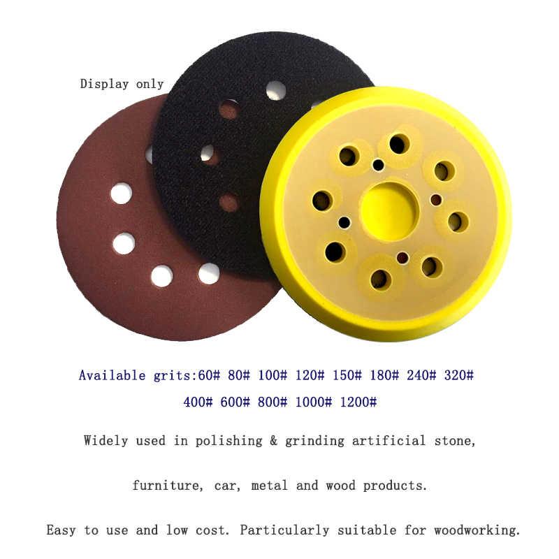 10Pcs 5 นิ้ว 125Mm 8 60-1200 กรวดรอบรูปร่างขัดแผ่นBuffingแผ่นกระดาษทราย 8 hole Sander Polishing Pad