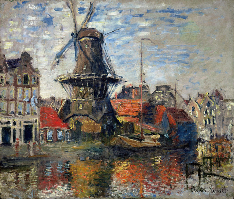 Claude Monet Impressionist The Windmill on the Onbekende Canal Amsterdam Photo Printed Canvas Oil Painting Home Wall Art Gift in Painting Calligraphy from Home Garden