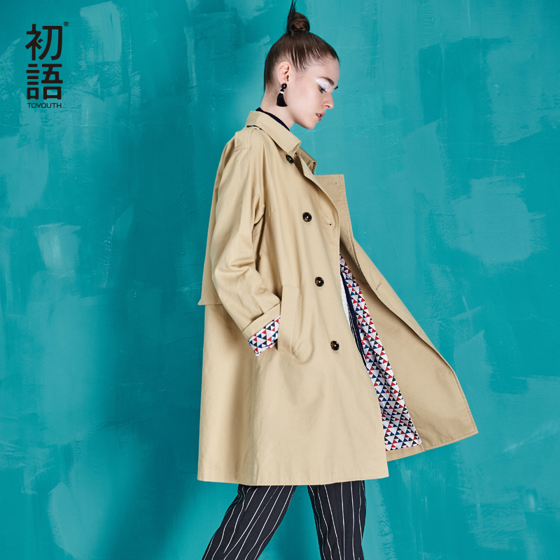 Toyouth British Style Women Long Trench Coat Double-Breasted Cotton Outerwear Coats Ladies Casual Solid Slim Casacos Femininos