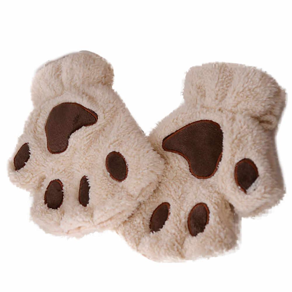 Sự ấm áp Ngón Găng Tay Sang Trọng Fluffy Bearr Móng Vuốt Chân Động Vật Mềm Mại Ấm Áp Đáng Yêu Dễ Thương Phụ Nữ Nửa Ngón Tay Bao Phủ Găng Tay CuteY15