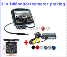 3 in 1 Most Secure LCD Parking Sensor Video System + newest  LED IR Night Vision Rear View Camera + 3.5 2ch av in Monitors