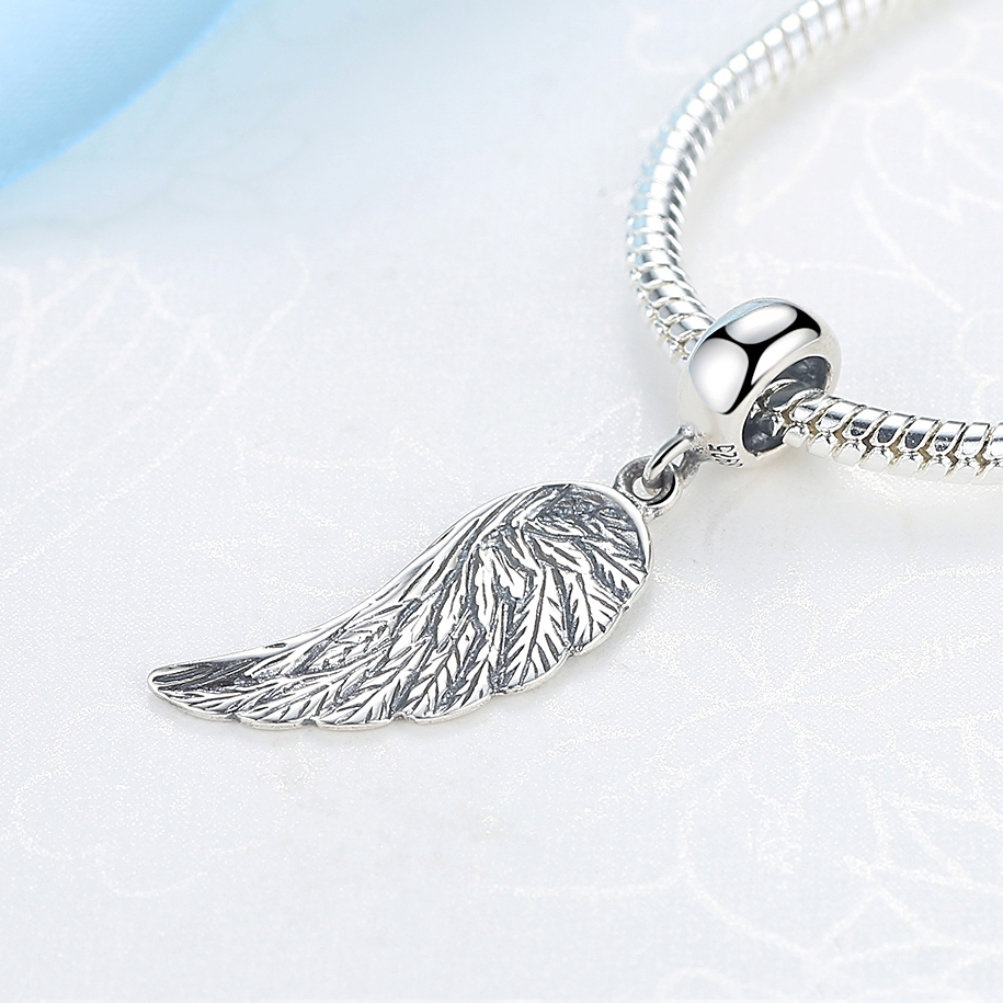 d84ac0ce3 Authentic 925 Sterling Silver Beads Charm Angel Wings Pendant Antique  Hanging Bead Fit Pandora Bracelets DIY Charms Jewlery-in Beads from Jewelry  ...