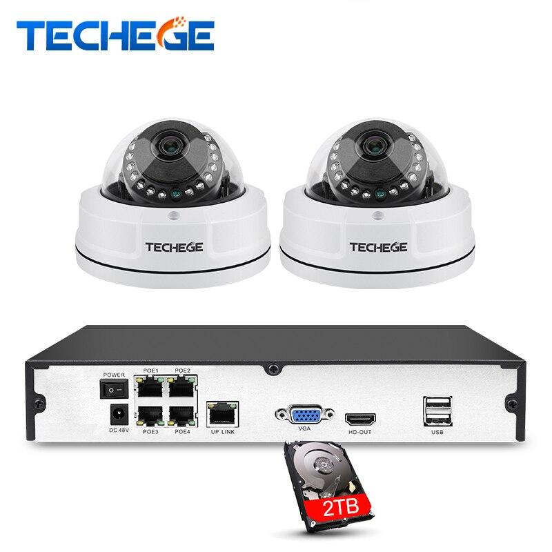 Techege 4ch 1080 P CCTV Системы PoE NVR 1080 P видео Выход 2 шт. 3000tvl 2mp АНТИВАНДАЛЬ IP Камера дома видеонаблюдения Наборы