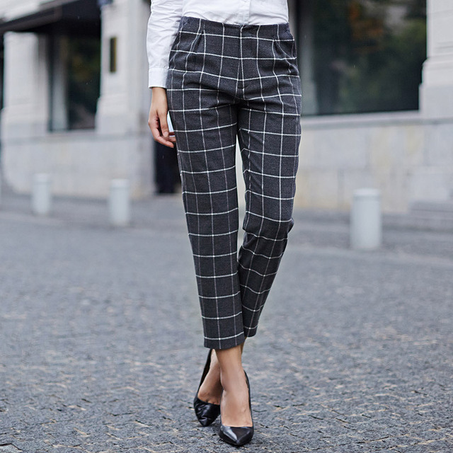Attractive Veri Gude Women's England Style Plaid Pants Straight Trousers for  FF31