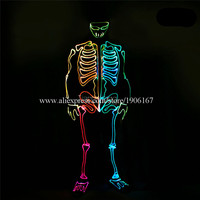 Led light fiber optic Ghost Suits dance coverall clothes stage dress up led luminous Halloween fluorescent performance costumes