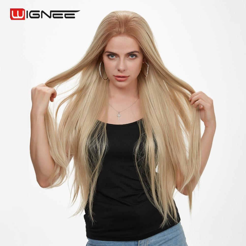 Wignee dentelle avant partie libre perruques synthétiques pour femmes haute densité température Ombre brun Long cheveux raides jeu de trône perruques