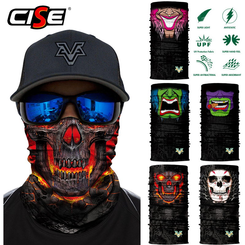3D Seamless Motorcycle Bandana Magic Neck Face Mask Balaclava Moto Ghost Skull Windproof Head Shield Anti-UV Outdoor Sun Mask skull head style mask silver black