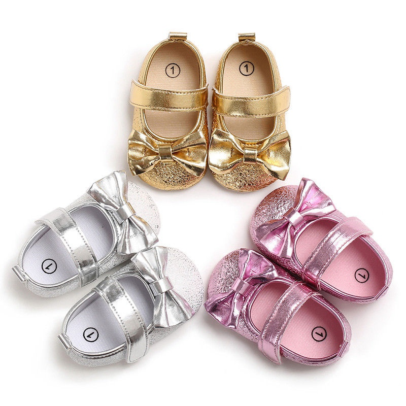 Newborn Infant Baby Girls Fancy Bow Princess Shoes Kids Soft Sole Crib Shoes Set