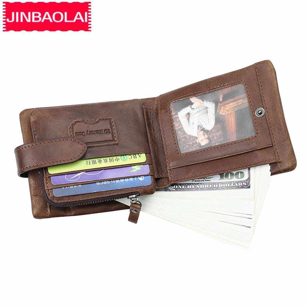 JINBAOLAI мужские кошельки на молнии из натуральной кожи Короткие Кошельки для монет Карманный держатель для карт винтажные брендовые высококачественные мужские кошельки