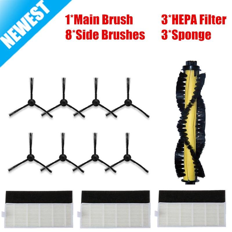 15PCS/LOT New 1*Main Brush+3*HEPA Filter+3*Sponge+8*Side Brushes for ILIFE a4 Robot Vacuum Cleaner Parts chuwi ilife a4 cleaner parts for xshuai hxs g1 vacuum cleaner robot side brushes hepa filter mop kit