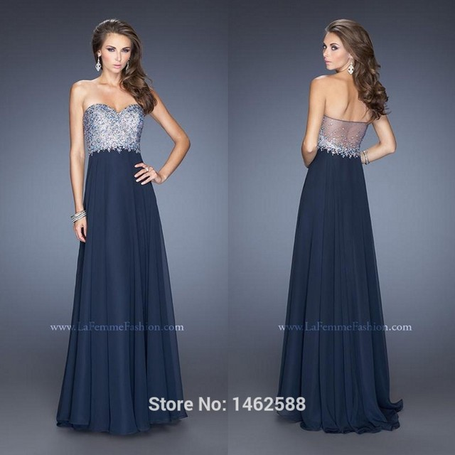 Sheer Back Long Navy Blue Chiffon Sequins Beaded Evening Gown Dresses Prom  2015 Sparkly Formal Party Dress 4e24a848f516