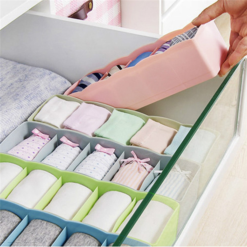 5 Grids Plastic Organizer Storage Boxes Separator Tie Bra Socks Drawer Cosmetic Divider Tidy Solid Color Storage Tool #5AU03 (2)