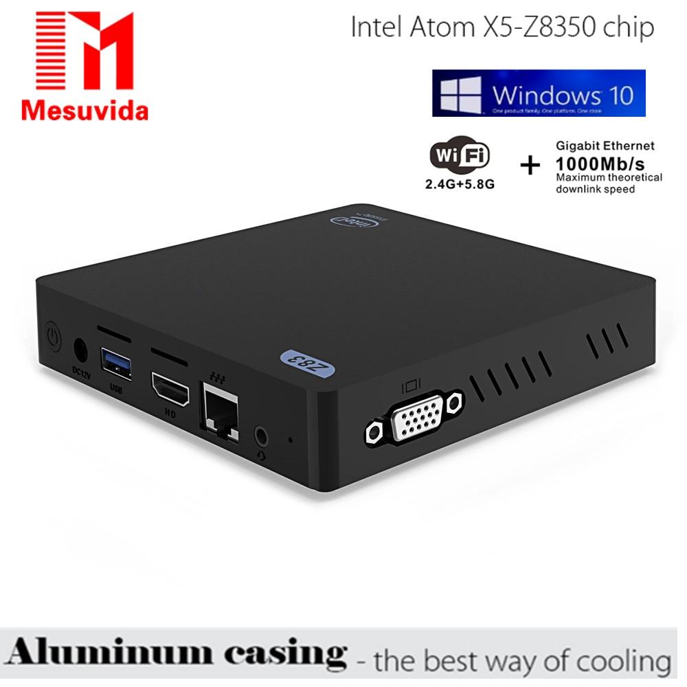Mesuvida Z83V Window 10 OS Intel Atom X5-Z8350 Mini PC 2G DDR3 RAM 32G ROM TV BOX 2.4GHz / 5GHz WiFi Bluetooth 4.0 USB 3.0 3D 4K mesuvida z83ii mini pc tv box for intel atom x5 z8350 quad core windows 10 64bit 2 4g 5 8g wifi ram 2g ddr3l rom 32g set top box