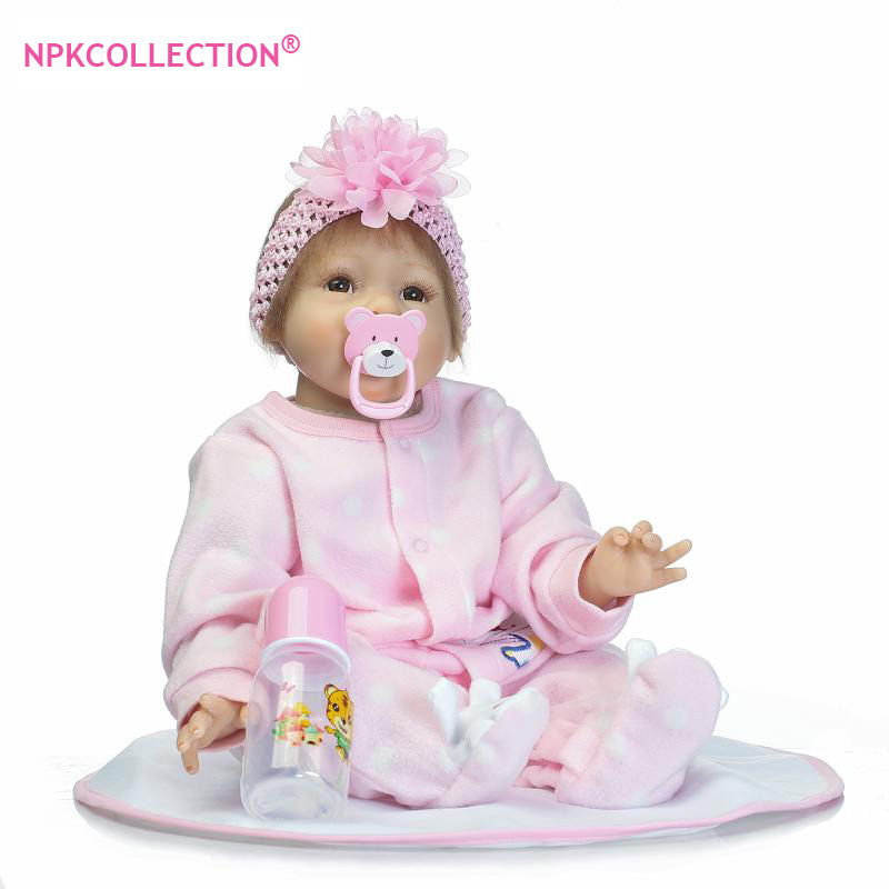 """22"""" Silicone Baby Dolls in Pink Clothes and Flower"""
