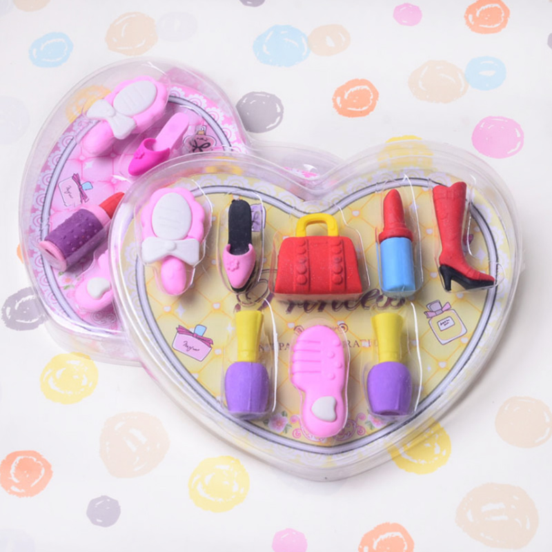 8 pcs/box Fashion girl cosmetics pencil eraser Heart shaped gift box perfume bag rubber eraser kawaii stationery school supplies free shipping original new 7 inch lcd screen model m070wx04 bl v01 cable number m070wx01 fpc v06