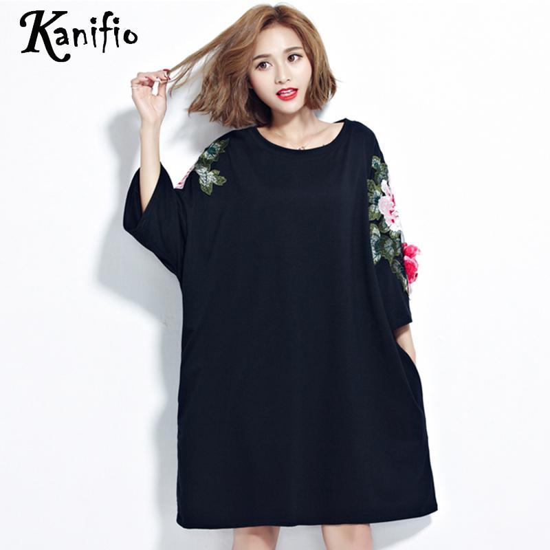 Kanifio Oversized Plus Big Size Women Flower Embroidery Shirt Cotton Blouse Ladies Casual Loose Long Top Tee Tunic Blusa 7XL 6XL Рубашка