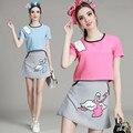 Летние Милые Женщины Из Двух Частей Топ набор Лебединое Вышивка Рубашка с коротким Рукавом Блуза Синий Розовый Юбка Костюмы Мода Леди набор NS293