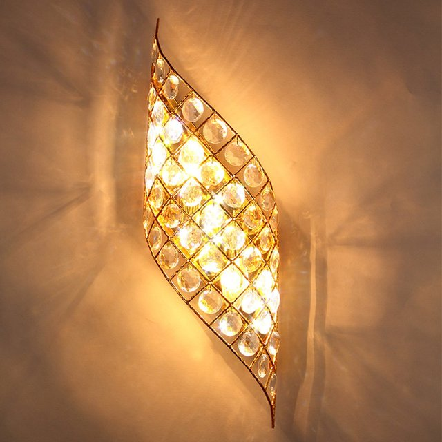 Moderne Cristal Doré Ailes Dange Couloir Appliques Murales Chambre