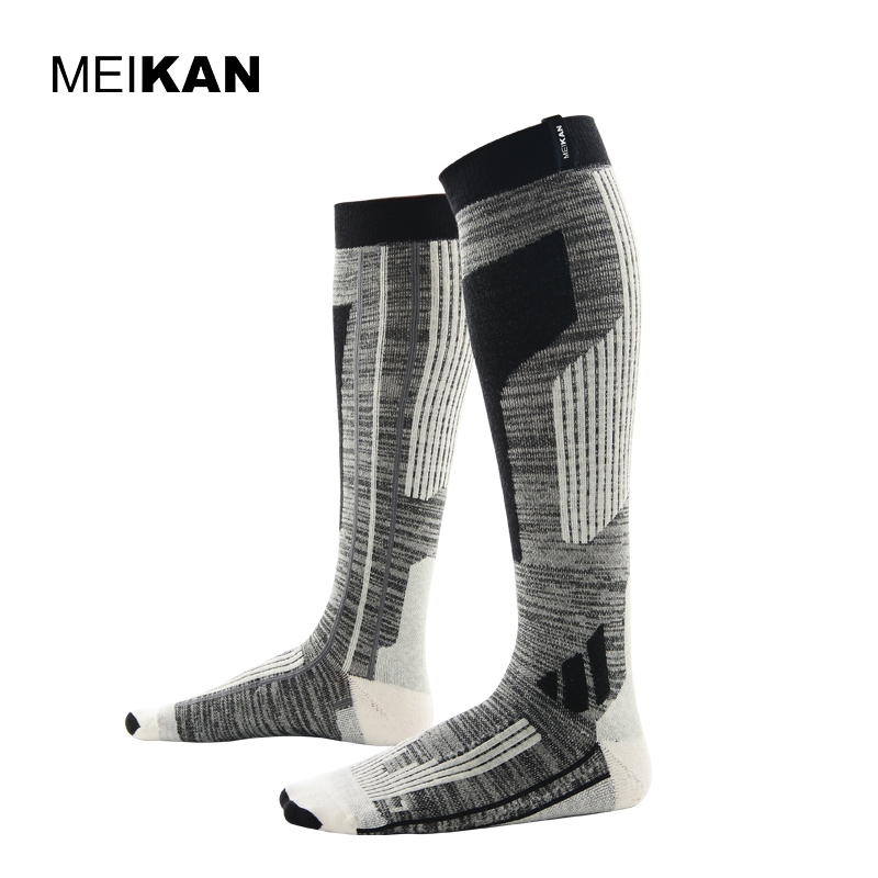 MKSK2017001 High Quality Professional Men/Women Mercerized Merino Wool Ski Socks Outdoor Thicken Terry Warm Knee High Long Socks