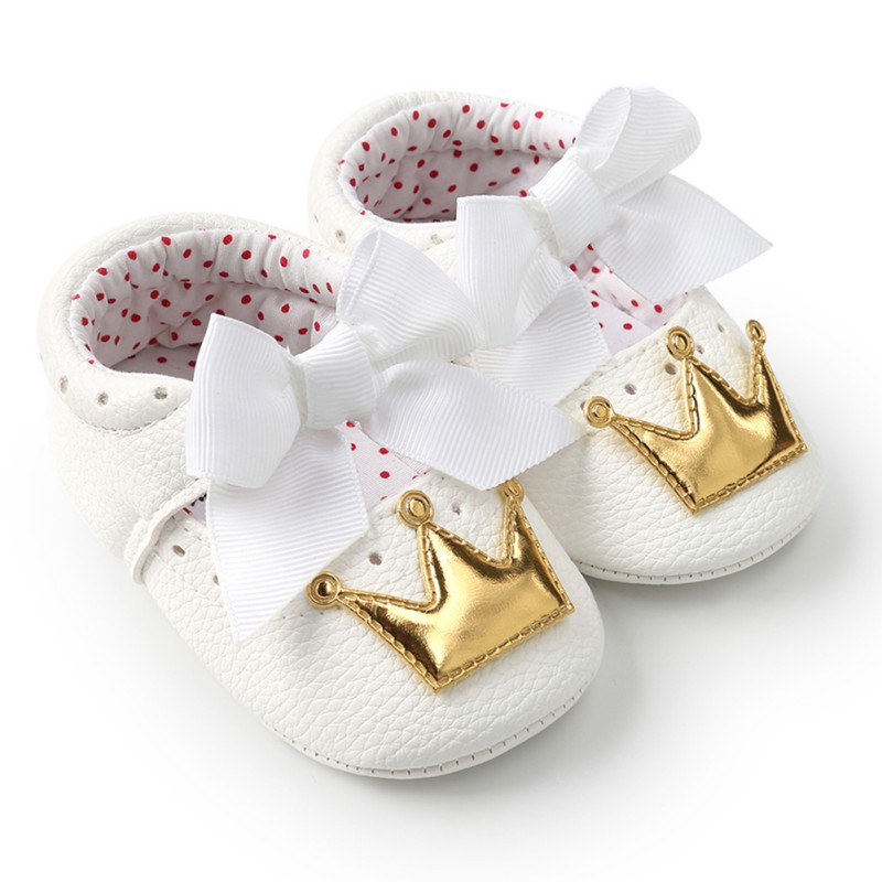 Spring Autumn PU Cute Butterfly Crown Anti-slip Toddler Shoes Princess Baby Soft Soled Shoes Indoor Crib Shoes