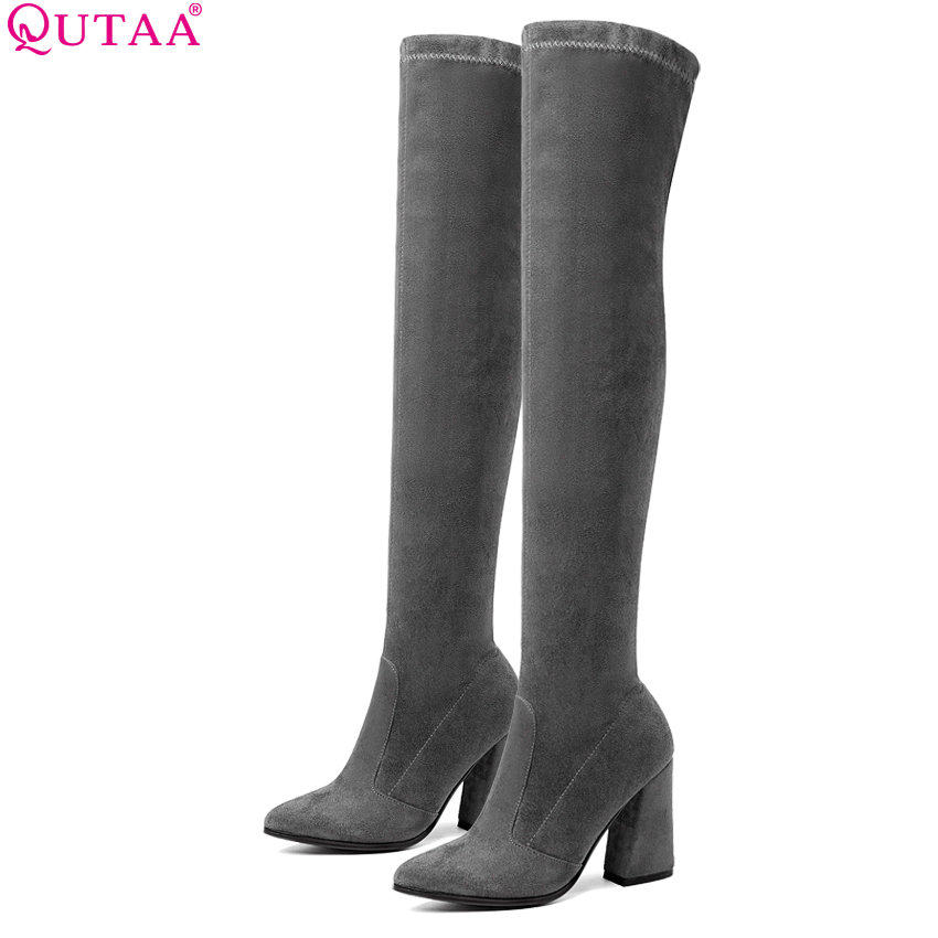 QUTAA 2019 Women Over The Knee High Boots Fashion All Match Pointed Toe Winter Shoes Elegant All Match Women Boots Size 34-43 women s ankle boots strappy pointed toe vogue comfy all match shoes