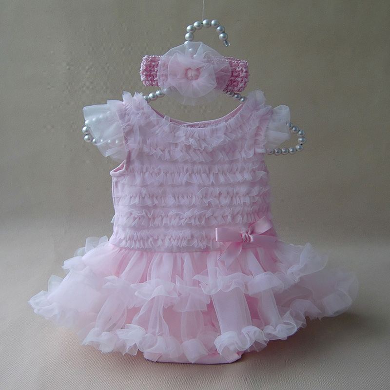 Newborn Baby Girl Ruffle Dress Odzież w stylu księżniczki Summer Girls Romper Dress & Pałąk Pink Infant Party Costume Sukienki