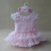 Newborn Baby Girl Ruffle Dress Clothes Princess Style Summer Girls Romper Dress Headband Pink Infant Party