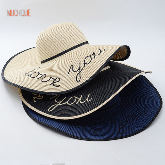 8f68e92750eb2 Muchique Summer Hat Love You Embroidery Floppy Sun Hats for Women Foldable  Summer Beach Paper Straw